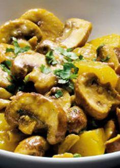Cogumelos ao caril
