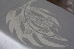 Finlow Leaf in Rock Grey Linen #linen #fabric #leaf #grey linen #curtain fabric