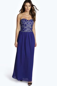 Boutique Lily Embellished Chiffon Maxi Dress