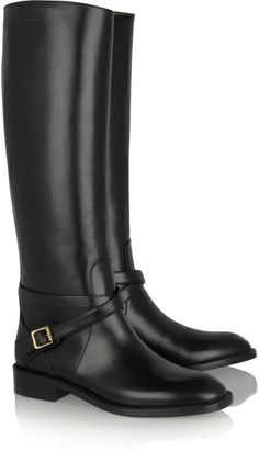 e442eb73915 Saint Laurent Cavaliere Buckled Leather Riding Boots - Lyst Black Riding  Boots