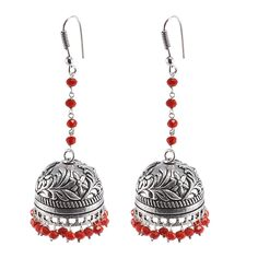 Wedding Wear Gorgeous Red Crystal Facetes Dangling Earring- Fashion Wear Heavy Handcrafted Jewelry-Silvestoo Jaipur PG-101476  #jewelry #jhumki #women #fashion #traditional #designer #yellow #silver #jhumka #dangle #earring #silvestoindia #antique