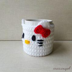 Patrón: Cubre Tazas Hello Kitty Crochet | Handbox Craft Lovers | Comunidad DIY, Tutoriales DIY, Kits DIY