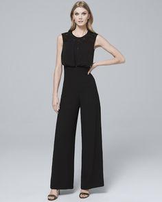 Women's Petite Lace Inset-Bodice Black Wide-Leg Jumpsuit by White House Black Market Lace Jumpsuit, White Jumpsuit, Reversible Dress, Lace Inset, Jumpsuits For Women, Dresses For Sale, Wide Leg, Clothes For Women, Bodice