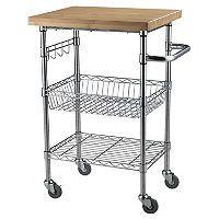 Bamboo Top Chrome Wire Kitchen Cart - Sam's Club