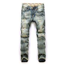 dd4f164afb nuevos hombres de moda Jeans gastados con agujeros ácido lavado Vintage de  mezclilla ocasional pantalones vaqueros