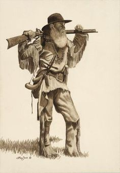 June (Abt the Overmountain Men & Battle of Kings Mountain) Mountain Man by Larry Zach Early American, Native American Art, American History, American Women, American Indians, Battle Of Kings Mountain, U2 Poster, Le Castor, Mountain Man Rendezvous