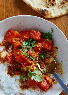 Tried: Strangely REALLY good and super fast and easy! Recipe: Watermelon Curry — Recipes from The Kitchn Curry Recipes, Vegetarian Recipes, Healthy Recipes, Rice Recipes, Fun Recipes, Healthy Dinners, Vegetable Recipes, Casserole Recipes, Vegan Vegetarian