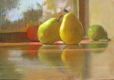 """Sally Strand ~ """"Pears on a Window Sill Pastel Drawing, Pastel Art, Pastel Paintings, Classical Realism, Art Aquarelle, Still Life Fruit, Toned Paper, Chiaroscuro, Art Techniques"""