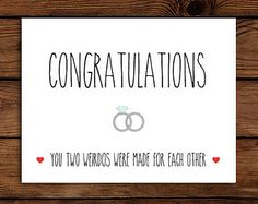 Wedding Gift Card Message Suggestions : ... Message Funny Wedding Card Printable // Con gratulations Card