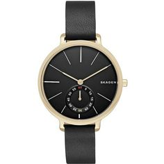 Skagen Denmark Hagen Goldtone  Leather Strap Watch ($185) ❤ liked on Polyvore featuring jewelry, watches, black, water resistant watches, black face watches, black dial watches, stainless steel wrist watch and stainless steel jewelry