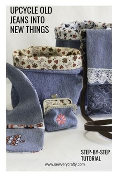 want to take those old warnout jeans and make new things. There are 5 different patterns and tutorials here to help you do just that. I love upcycling jeans and this post will provide a wide variety of things to make from a single pair of jeans. These a