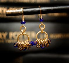 Hogwarts Collection - Ravenclaw - Brass Bead Hoop Earrings  by HowlOwl on Etsy. Harry Potter