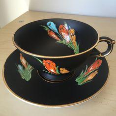 Atlas China Matte Black Vintage Teacup and Saucer, Red Orange Yellow Blue Crocus Flower Tea Cup and Saucer, English Grimwades…
