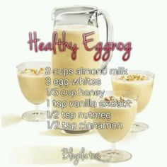 Directions! Mix all in a blender for a few min. Then simmer in a pot for 15-20 min but don't boil it! Then chill in fridge overnight. Xmas morning take out and serve! Sprinkle some extra cinnamon on top for prettiness! Makes 4 servings. About 145 cals each with 7g of protein! Regular egg nog is like 350 cals!