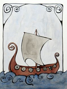Viking ship original ink and watercolor by TheRovingHedgehog
