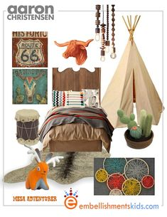 American Adventurer mood board for a little boys room.  With its play tent, knitted cactus, friendly jackalope and  art by Aaron Christensen there's fun to be had on the lone mesa.