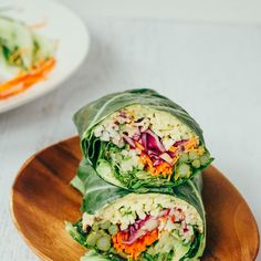 Ovulation phase- Easy and healthy veggie packed hummus collard wraps. They're full of flavor and perfect for light lunch, appetizer or snack. Wraps Vegan, Whole Food Recipes, Cooking Recipes, Cooking Corn, Cooking Steak, Microwave Recipes, Cooking Salmon, Healthy Snacks, Healthy Eating