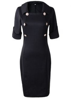 Short Sleeve Button Decorated Black Dress
