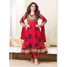 Bipasha Basu Georgette Machine & Thread Work Red Semi Stitched Anarkali Suit - K466