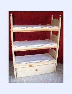 Stackable American Girl Triple Doll Bunk Bed with Trundle Scalloped Sides Mattresses and Ladder
