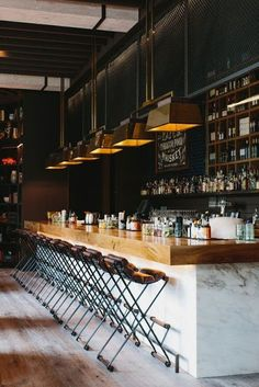 bar, stools and lighting