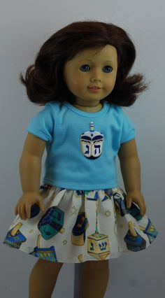 18 inch Doll Clothes fit American Girl Dolls.  This Dreidel Skirt Set is now available on Amazon.