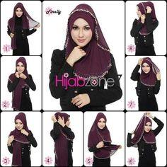 Cara Pakai Hijab Shawl With Hijab Tutorial Tutorial Hijab Pesta, Simple Hijab Tutorial, Hijab Style Tutorial, Scarf Tutorial, Islamic Fashion, Muslim Fashion, Hijab Fashion, Turban Hijab, Hijab Outfit