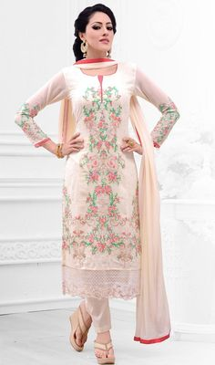 Amaze your onlookers dressed in this cream color shade georgette pant style suit. That you can see some intriguing patterns completed with butta, lace and resham work.  #casualdresses #casuallookdress #casualwears
