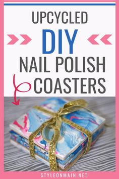 Marbling things with nail polish seems to be everywhere. We're showing you how to make some fun nail polish marbled coasters quickly and easily. Adult Crafts, Fun Crafts, Diy And Crafts, Old Nail Polish, Nail Polish Colors, Craft Projects, Craft Ideas, Diy Coasters, Amazing Crafts