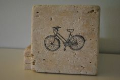 Lets Ride Natural Stone Coasters. Set of 4. Bike, Fathers Day, Gift for Him. By Freckle on etsy