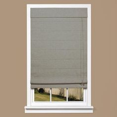HOMEbasics Gray Linen Look Thermal Fabric Roman Shade (Price Varies by Size) - RSTC3964 at The Home Depot