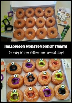 This amazingly adorable Halloween Monster Donuts DIY is incredibly easy, but it can trick you if you don't heed this one crucial key to success! Use glazed donuts not cake donuts or they will break apart when you insert the teeth. Buffet Halloween, Halloween School Treats, Halloween Goodies, Halloween Food For Party, Halloween Birthday, Holidays Halloween, Halloween Kids, Halloween Donuts, Halloween Potluck Ideas