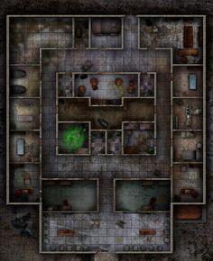 Medical Center by WastelandBattlemaps on DeviantArt Metro 2033, Cyberpunk 2020, Dungeon Tiles, Dungeon Maps, Dungeons And Dragons Homebrew, D&d Dungeons And Dragons, Apocalypse, Call Of Cthulhu Rpg, Pen & Paper