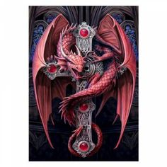 This is a marvelous canvas wall plaque depicting a Gothic Guardian dragon on a cross. Designed by the renowned artist Anne Stokes. A must have piece for any Anne Stokes fans. Anne Stokes, Fantasy Creatures, Mythical Creatures, Dragon Illustration, Fire Breathing Dragon, Bild Tattoos, Dragon's Lair, Beautiful Dragon, Dragon Artwork