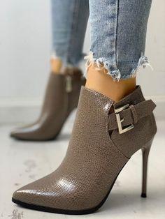 9aab044655 Shop PU Cutout Peep Toe Thin Heeled Sandals right now