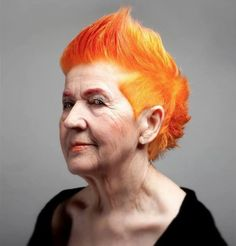 Bright hair for all! Love this sharp orange look.
