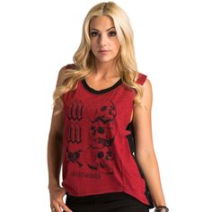 "Metal Mulisha women's Wicked Ways tank top with stacked skulls image stating ""Heart Breaker"" and laser cut back."