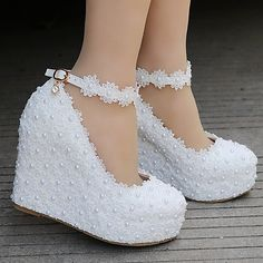 """Details about women white lace wedge high heel wedding pumps shoes round toe bridal shoes plus Heel Height: about 11 cm. """" If you are satisfied, we sincerely hope that you can leave us a. Circumference:about cm. Wedge Wedding Shoes, Wedding Boots, Wedge Shoes, Women's Shoes, Wedding Pumps, Bridal Shoes Wedges, Wedding Wedges, Shoes Heels Wedges, Wedge Sandal"""