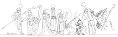 From left to right: Nightlight, Man in Moon, Sandy, Pitch Black, Mother Nature, North, Katherine (Mother Goose), Bunny, Ombric, Tooth, and Jack Frost.
