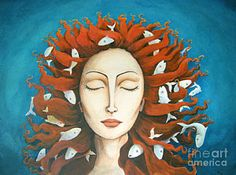 Sedna 3 by Diane Young. For sale on http://fineartamerica.com/art/sedna. Black haired beauty.  When Sedna is angered, men are sent out in canoes to wash & comb her long hair, for Sedna has no fingers & the sea creatures will become tangled in its knots.  When trapped in her hair, fish will not reach man & when the fish do not reach the land, there is no food for the people of the frozen waste. Text from http://melusinamermaid.blogspot.com/2012/02/sedna-inuit-goddess-of-sea.html