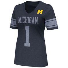 Michigan Wolverines Ladies Blue Rebel V-Neck T-Shirt