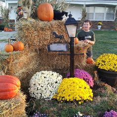 How to Decorate Your Yard for Fall with Mums, cornstalks, pumpkins, gourds, straw bales and more!