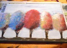 """Mousse arc en ciel toile acrylique - 12"""" x 16 """""""
