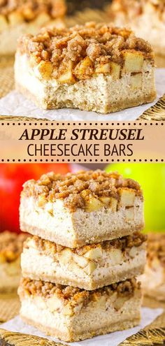 These Apple Streusel Cheesecake Bars are a delightful fall dessert. They have a buttery shortbread crust, creamy cheesecake filling and are topped with cinnamon apples and a cinnamon streusel! A delicious fall dessert and super simple way to enjoy cheesecake and apples together! Bar Recipes, Apple Recipes, Baking Recipes, Dessert Recipes, Apple Desserts, Fall Desserts, Delicious Desserts, Cheesecake Bars, Cheesecake Recipes