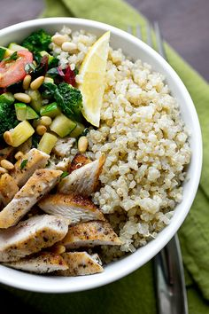 Chicken & Toasted Quinoa with Garlic-Sauteed Veggies and Pine Nuts by The Cozy Apron