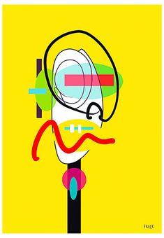 Wass Fint Bo Bo by Sam Freek - Contemporary art prints for the modern home - #art #artprint #abstractart #portrait