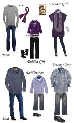 gray and purple for family pics