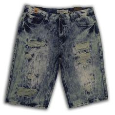 19394ee77d GS-115 Rip & Repair Denim Short in Blue - Wholesale Apparel Men's Shorts,