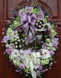 Beautiful Spring Summer Mother's Day Wreath, Birds, Brocade Bows, Silk Flowers