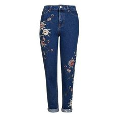 """Topshop Mom high waisted 7/8 jeans 30""""? Bestel nu bij wehkamp.nl ❤ liked on Polyvore featuring jeans, high-waisted jeans, denim jeans, high rise jeans, high waisted jeans and high waisted denim jeans"""